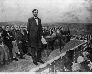 19th November 1863:  Abraham Lincoln, the 16th President of the United States of America, making his famous 'Gettysburg Address' speech at the dedication of the Gettysburg National Cemetery during the American Civil War. Original Artwork: Painting by Fletcher C Ransom  (Photo by Library Of Congress/Getty Images)